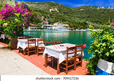 Traditional Greek restaurants near the sea. Sivota fishing village in Lefkada