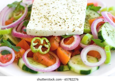 Traditional Greek salad close up.