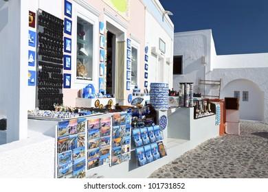 Traditional Greek shop at Santorini island in Greece
