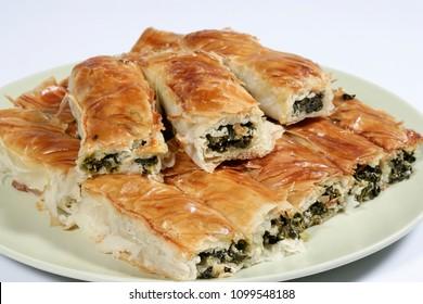 Traditional greek spinach pie ( spanakopita ),Turkish Borek with Spinach