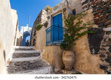 Traditional greek street in Pyrgos village, Santorini, Greece