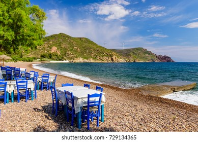 Traditional Greek taverna on Lambi beach, Patmos island, Dodecanese, Greece