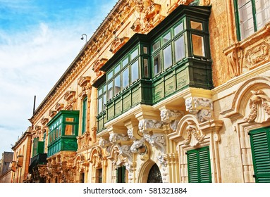 Traditional green balcony at St George Square, Valletta old town, Malta