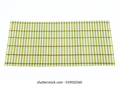 Traditional green bamboo pad texture. Old Bamboo pad texture on white background. Bamboo weave pattern. Mat for food serving. Closeup.
