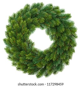 traditional green christmas wreath isolated on white background. festive decoration