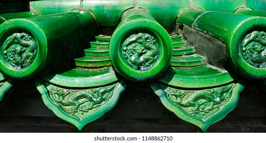 traditional green glazed ceramic tile roof,of chinese temple, with dragon design