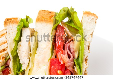 Traditional Grilled Club Sandwich Chicken Tomatoes Stock Photo Edit