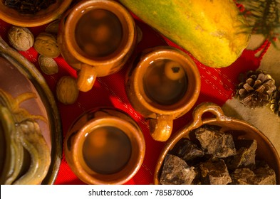 Traditional Guatemalan Hot drink (ponche) made at Christmas time, with fruits and spices