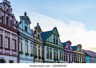 Traditional guild houses in Europe. Facade of historical houses in Hradec Kralove, Czech Republic.