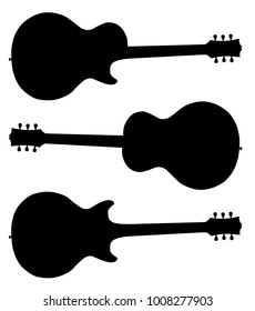 Traditional guitar shape silhouettes isolated over a white background