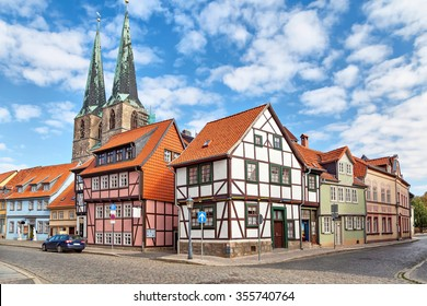 Traditional half-timbered german houses and church in Quedlinburg, Germany
