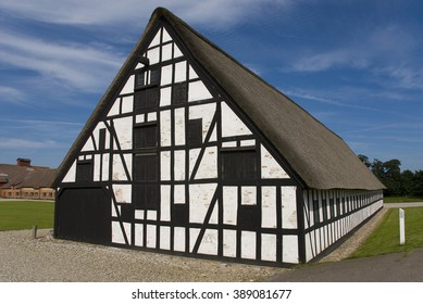 Traditional half-timbered house in Ronde, Denmark