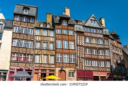 Traditional half-timbered houses in the old town of Rennes - Brittany, France