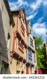 Traditional half-timbered houses in the old town of Nantes - France, Loire-Atlantique