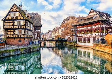 Traditional half-timbered houses on the canals district La Petite France in Strasbourg, UNESCO World Heritage Site, Alsace, France.