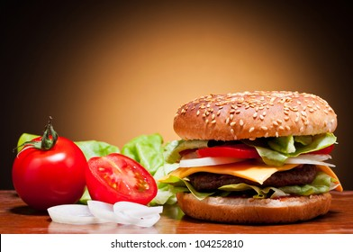 traditional hamburger and vegetables still life