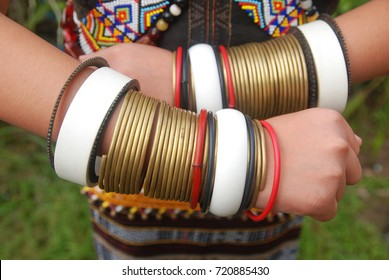 Traditional hand accesories of the Rungus ethnic of Sabah, Malaysia made from brass and colored rattan.