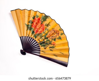 Traditional hand fan to ventilate the face, fully opened isolated on white background