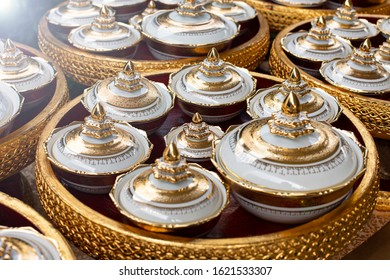 Traditional hand painted Thai porcelain set.Decoration in wedding ceremony of Thai tradition.