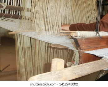 traditional hand weaving textile fabric on wooden hand loom