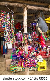 Traditional handcrafts at the market in main street of Uyuni,  Bolivia.