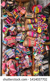Traditional handcrafts on the market in main street of Uyuni,  Bolivia.