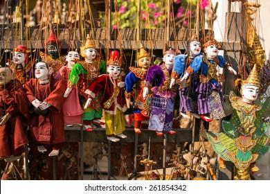 Traditional handicraft puppets in Bagan, Myanmar