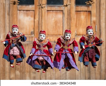 Traditional handicraft puppets are sold in a market in Bagan, Myanmar