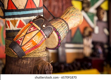 Traditional handmade drums for sale at Lesedi Cultural Village, South Africa, - Shutterstock ID 657091870