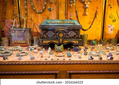 Traditional handmade middle eastern jewelry and treasure chest in luxury shop in Morocco