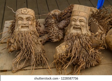 Traditional handmade sculptures made from bamboo roots, Vietnam