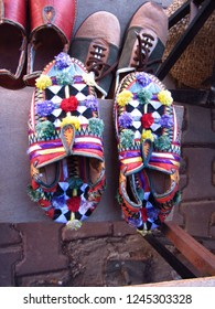 Traditional handmade slippers, Tafraout, Morocco. Berber culture(Amazigh)