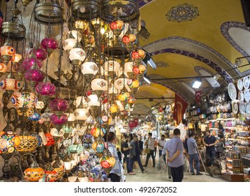 Traditional handmade Turkish lamps in souvenir shop. Mosaic of colored glass in Grand Bazaar.