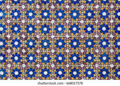 Traditional hand-painted ornate Portuguese ceramic Azulejo tiles from Pena National Palace in Sintra. Abstract background