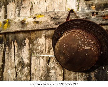 traditional hat from the Brazilian northeast, on an old wooden door