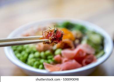Traditional Hawaiian Ahi Poke Bowl with Seaweed, Edamame and Pink Ginger