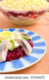 Traditional herring salad with beetroots
