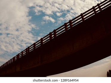 A traditional highway bridge with blue sky background photo