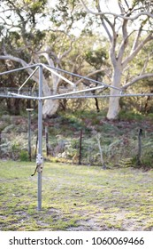 Traditional Hills Hoist metal clothesline in the backyard of a family home with the Australian bush in the background