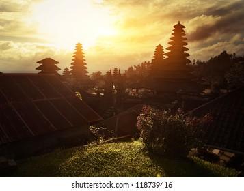Traditional hindu buildings in the temple of Pura Besakih. Bali, Indonesia