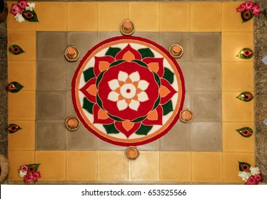 Traditional Hindu Floor Floral Decoration