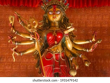 Traditional Hindu Goddess Durga with red vermilion applied on her forehead