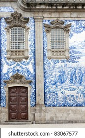 Traditional historic facade in Porto decorated with blue hand painted tin-glazed tiles, Oporto, Portugal