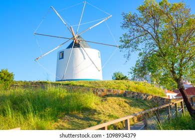 Traditional historic windmill in Odeceixe, Algarve, Portugal