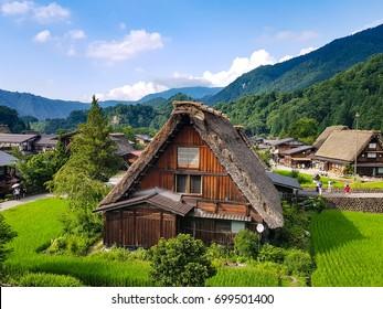 Traditional and historical Japanese village Shirakawago in summer