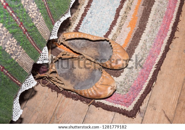 Traditional Historical Leather Shoes Called Pastalas Stock Photo