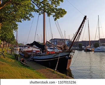 Traditional historical sailing ship in the harbor from Muiden in the Netherlands