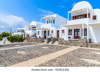Traditional holiday apartments built in Greek style in Imerovigli vilage, Santorini island, Greece