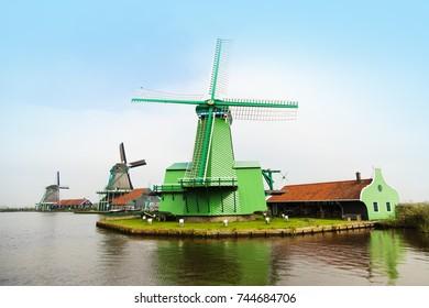 Traditional Holland windmills in Zaanse Schans village
