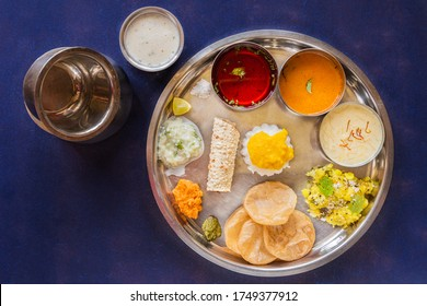 Traditional home cooked  Maharashtrian meal or thali.